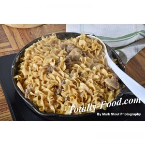 beef stroganoff in a cast iron skillet