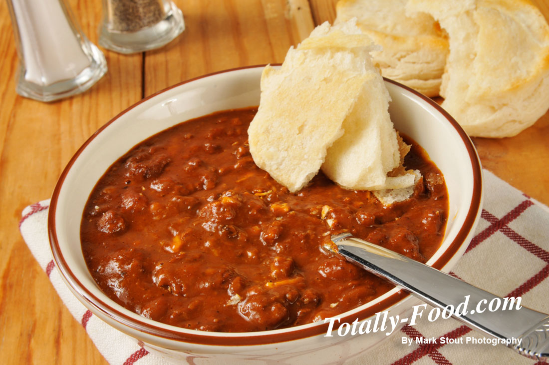 chili and fresh biscuits
