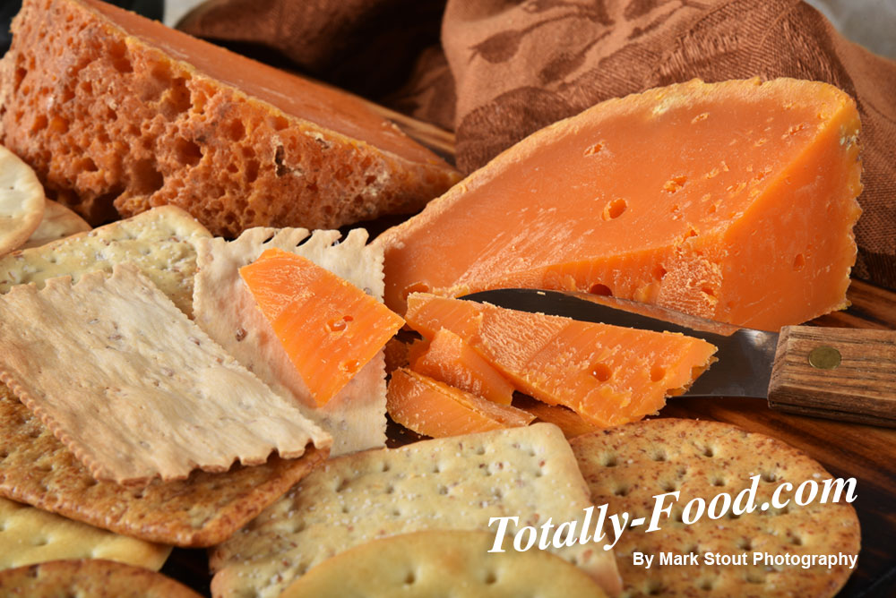 Mimolette cheese and crackers