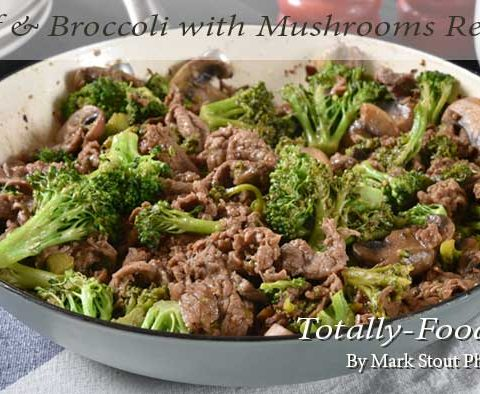 Beef and broccoli with mushrooms